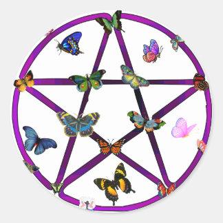 Estrella y mariposas de Wiccan Pegatina Redonda