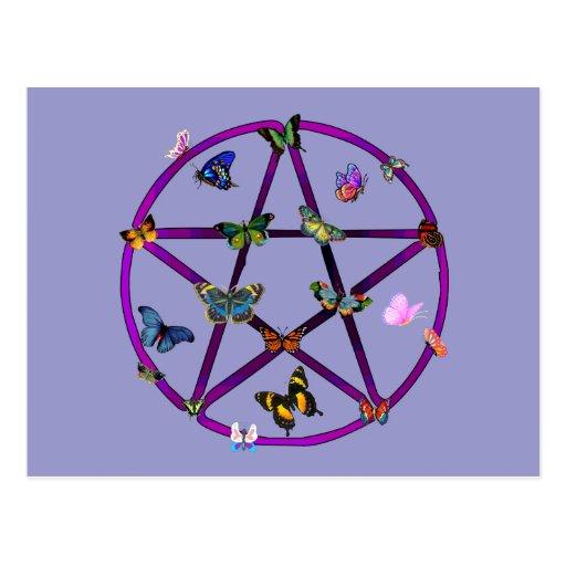 Estrella y mariposas de Wiccan Postal
