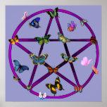 Estrella y mariposas de Wiccan Poster
