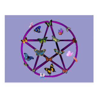 Estrella y mariposas de Wiccan Tarjeta Postal