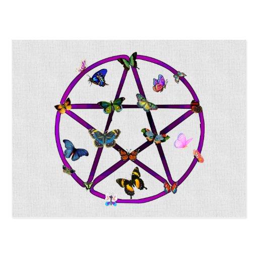 Estrella y mariposas de Wiccan Tarjetas Postales