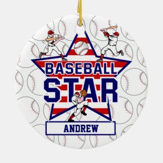 Estrella y rayas de béisbol personalizadas adorno navideño redondo de cerámica