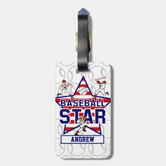 Estrella y rayas de béisbol personalizadas etiquetas para maletas