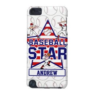 Estrella y rayas de béisbol personalizadas funda para iPod touch 5G