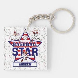Estrella y rayas de béisbol personalizadas llavero cuadrado acrílico a doble cara