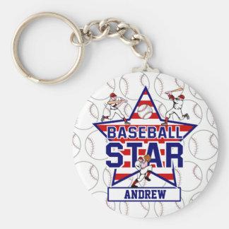 Estrella y rayas de béisbol personalizadas llavero redondo tipo pin