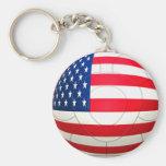 Estrella y rayas - fútbol de los E.E.U.U. Llavero Redondo Tipo Pin