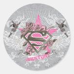Estrella y rosas de Supergirl Pegatina Redonda