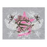 Estrella y rosas de Supergirl Postal