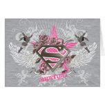 Estrella y rosas de Supergirl Tarjeta