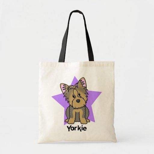 Estrella Yorkshire Terrier de Kawaii Bolsa Lienzo