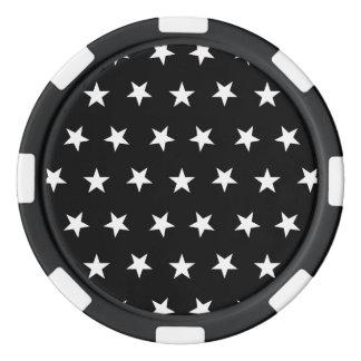 Estrellas 8 blancos y negros fichas de póquer