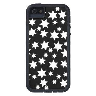 Estrellas al azar del blanco en negro iPhone 5 funda