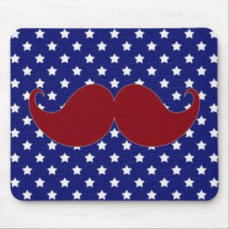 Estrellas americana del bigote, azul blanco rojo alfombrillas de ratones