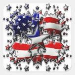 Estrellas americanas calcomanía cuadradas personalizadas