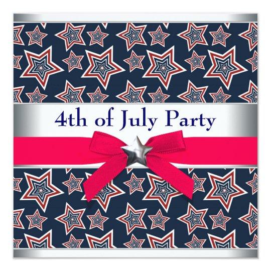 """Estrellas azules blancas rojas 4tas del fiesta del invitación 5.25"""" x 5.25"""""""