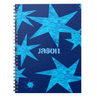 Estrellas azules brillantes adaptables libro de apuntes con espiral
