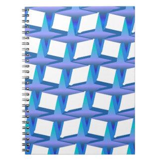 Estrellas azules de la cadena libretas espirales