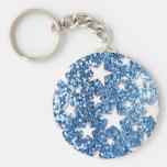 Estrellas azules de la mirada del brillo llaveros personalizados