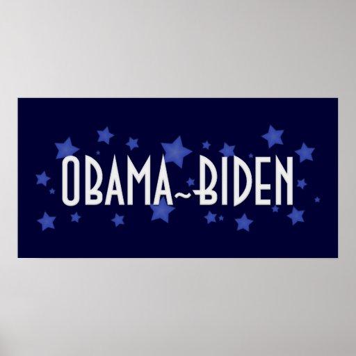 Estrellas azules de Obama Biden Póster