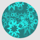 Estrellas azules de pavo real etiqueta redonda