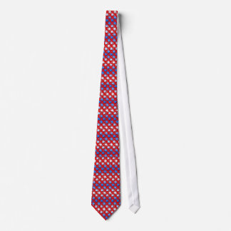 Estrellas azules del blanco en rojo corbata personalizada