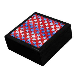 Estrellas azules del blanco en rojo joyero cuadrado grande