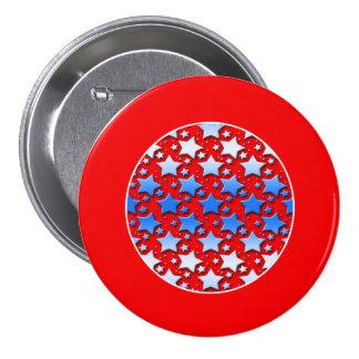 Estrellas azules del blanco en rojo pin redondo de 3 pulgadas