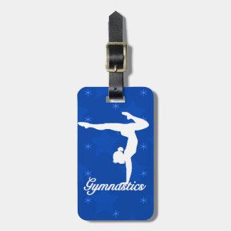 Estrellas azules del chica de la gimnasia etiquetas para maletas
