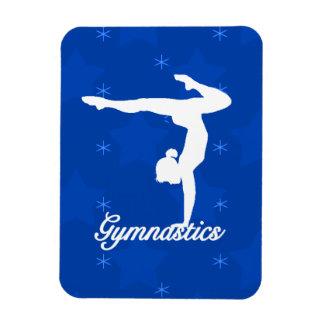 Estrellas azules del chica de la gimnasia imán foto rectangular