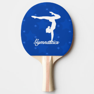 Estrellas azules del chica de la gimnasia pala de tenis de mesa