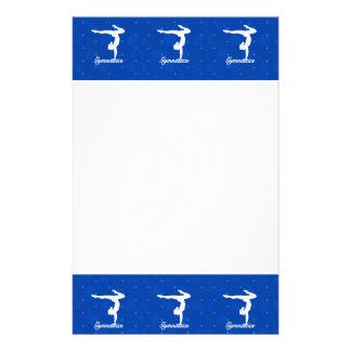 Estrellas azules del chica de la gimnasia papelería personalizada