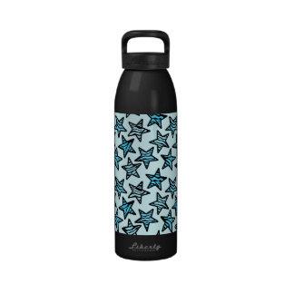 Estrellas azules del estampado de zebra botella de beber