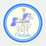 Estrellas azules del oro del caballo del carrusel pegatinas redondas