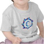 Estrellas azules del rojo del monograma de la letr camisetas