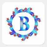 Estrellas azules del rojo del monograma de la pegatina cuadrada