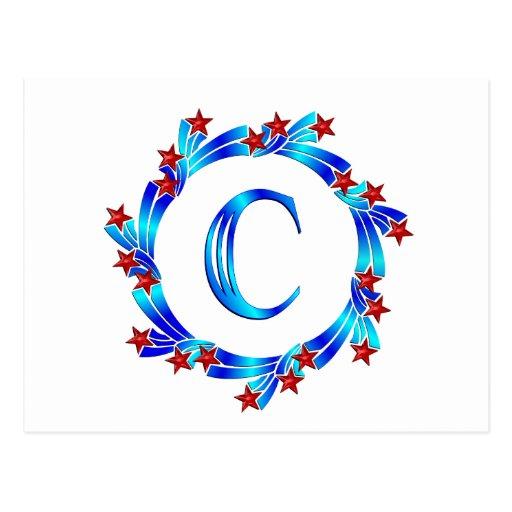 Estrellas azules del rojo del monograma de la postal