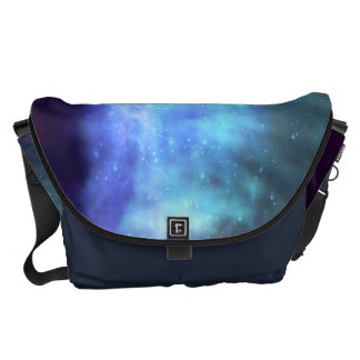Estrellas azules en espacio bolsas de mensajería