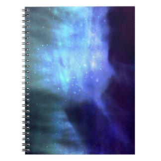 Estrellas azules en espacio libretas