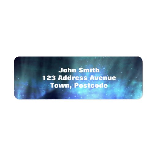 Estrellas azules en espacio etiqueta de remitente