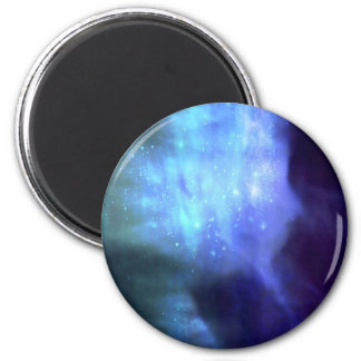 Estrellas azules en espacio imán redondo 5 cm