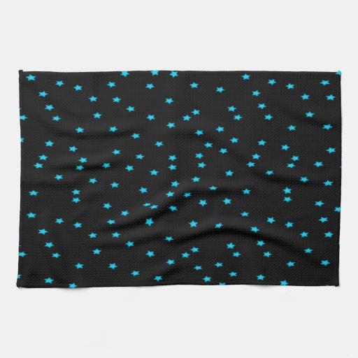 Estrellas azules en negro toalla de cocina