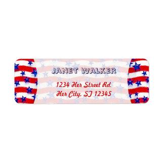 Estrellas azules patrióticas onduladas sobre rayas etiqueta de remite