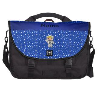 Estrellas azules personalizadas del astronauta con bolsa para ordenador
