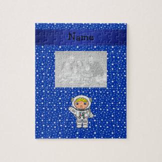 Estrellas azules personalizadas del astronauta con rompecabezas con fotos