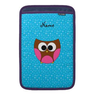 Estrellas azules personalizadas del búho marrón fundas MacBook