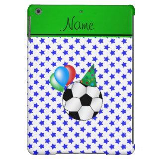Estrellas azules personalizadas del fútbol funda para iPad air
