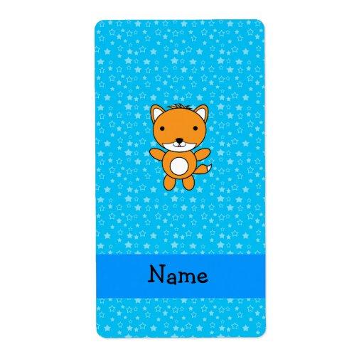 Estrellas azules personalizadas del zorro conocido etiqueta de envío