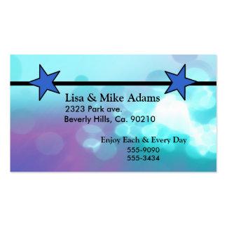 Estrellas azules púrpuras tarjetas de visita