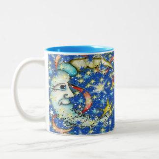 Estrellas azules Sun y diseño de la luna Taza De Dos Tonos